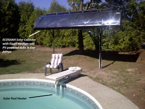 Solar pool heater in summer and house heater in winter