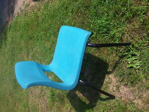 Blue, sturdy plastic school chairs