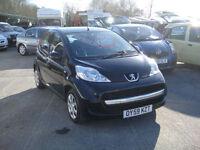 2009 Peugeot 107 1.0 Urban 5-door BLACK. Only 69,000 miles. **£20 TAX**