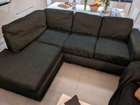 Corner Sofa black/ dark grey Excellent Condition!