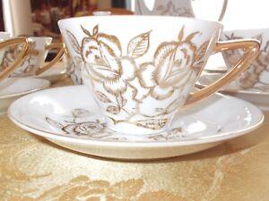 17 piece Oakwood hand painted tea set