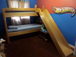 Oak BunkBed Custom-Made with Built-in Slide & Bookshelf