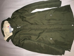 Army green long winter coat small