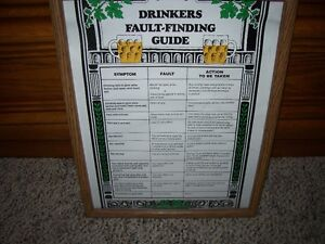 DRINKERS FAULT FINDING GUIDE in a frame