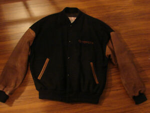 Men's XL TOYOTA SUEDE Winter BOMBER JACKET & Toyota baseball hat