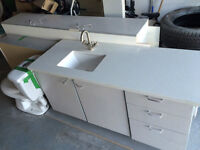 Bathroom vanity and quartz counter top.