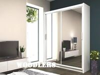 BRAND NEW - CHICAGO 2 DOOR SLIDING WARDROBE WITH FULL MIRROR -EXPRESS DELIVERY