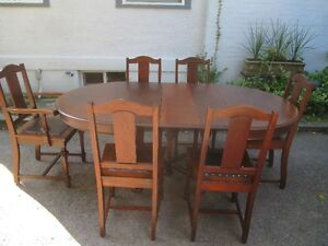 Antique(c1920) Table with 3 Leaves 6 Chairs- Strathroy Ont