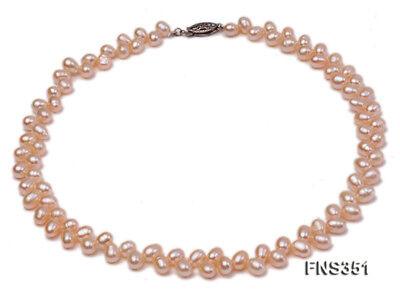 JYX Natural 5-7mm Pink Wheat ears Shaped Freshwater Pearl Single-strand -