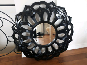 Black decorative framed mirror