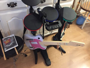 wii guitar hero set up. Comes with everything in the pics