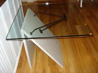 Table de salon, Vintage ( marbre blanc, verre trempé )