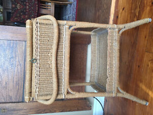 Antique wicker sewing basket