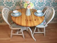 Shabby Chic solid pine dining table with two wooden chairs