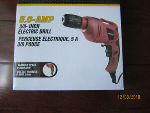 Brand New Electric Drill: 5.0 Amps, Variable Spd, Keyless Chuck