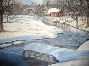 "Original Oil Painting ""Winter's Day By The Stream"" Stratford Kitchener Area image 6"