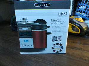 Bella Linea 5 qt slow cooker - never used - red