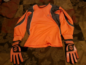 Youth Small Soccer Goal Jersey and Gloves