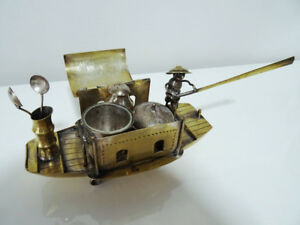 antique CHINESE boat junk CRUET CONDIMENT SET w/ glass liners &