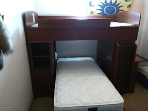 Single Bunk Bed with built-in desk
