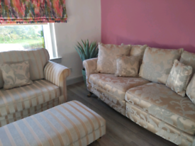 Sofa, cuddle chair & footstool