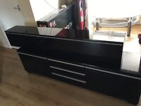 Besta Ikea High Gloss black tv/storage wall unint smaler one mounts on wall