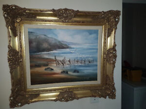 """BEAUTIFUL 16"""" BY 20"""" OIL ON CANVAS SEA SHORE PAINTING IN A GORGE"""