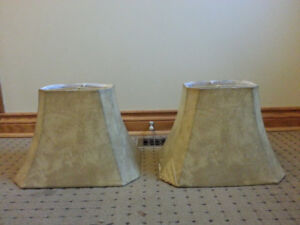 Two Lampshades-Beige Marble Look