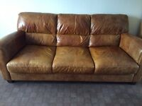 Tanned leather 3 seat sofa