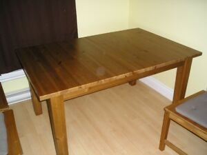 Ikea solid wood table and 4 chairs