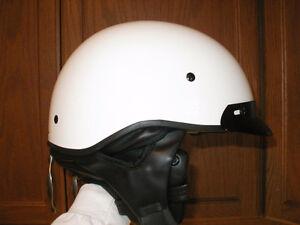 """NEW"" White (M) half helmet W/ slide shield and ear warmers"