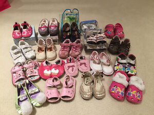 Lots of girl shoes; geox, crocs, Robeeze,princess...size6-7