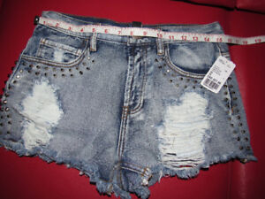 FOREVER21 M Stone Blue Denim Ripped Nails Design Punk Shorts K8#