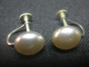 Vintage Late 40's Pearl Screw-back Earrings