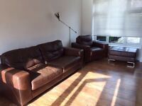 3 piece leather suite. Sofa/Couch, Chair and Storage Stool. Brown Italian Leather.