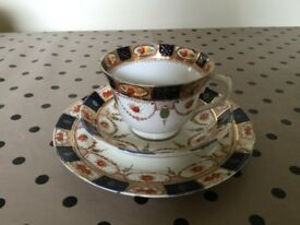Vintage china tea cup, saucer & side plate vintage Warwick blue gold 1920's Beswick & Sons