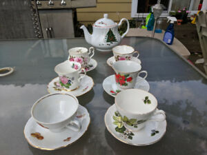 Bone China Teacups and Saucers, with Bonus Teapot