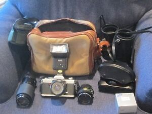 MINOLTA XG-9 35 mm SLR WITH 3 LENSES AND ACCESSORIES Strathcona County Edmonton Area image 1