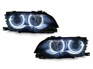 DEPO UHP LED Angel Eye Halo Projector Headlights For 02-03 BMW E46 2D / 02-06 M3