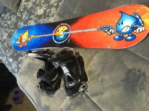 Children's snowboard and bindings