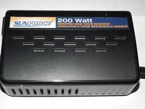 200 WATT INVERTER  12 VOLT TO 120 VOLT WITH PLUG .