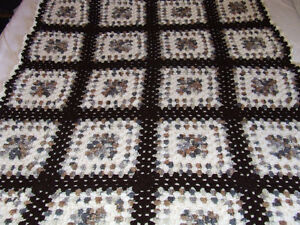 Beautiful Hand Crocheted Afghan #2 - White & Brown Tones - $50 Belleville Belleville Area image 6
