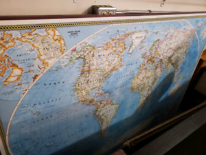 Large wooden world map picture