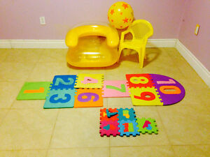 INFLATABLE CHAIR,MAT,PUZZLE,YELLOW CHAIR,BALL,HOPSCOTCH