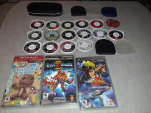 19 PSP games/Movies - 5 little cases and one carrying case