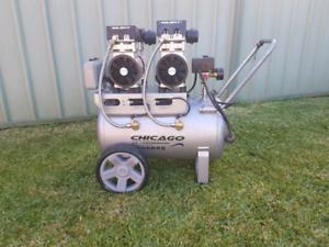 Chicago HUSH50 Aluminium Silenced 50L Air Compressor Twin Gauges