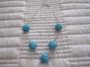 GENUINE TURQUOISE AND SILVER COLLAR NECKLACE