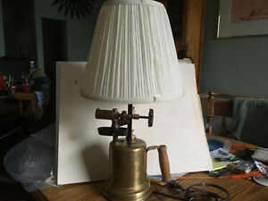"""Steam Punk"" theamed antique torch/lamp"