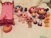 Bundle of Lalaloopsy dolls and bed