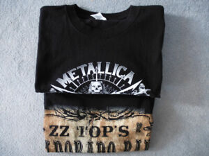 2 Concert T-Shirts for Metallica and ZZ Top, Men's Large, NEW
